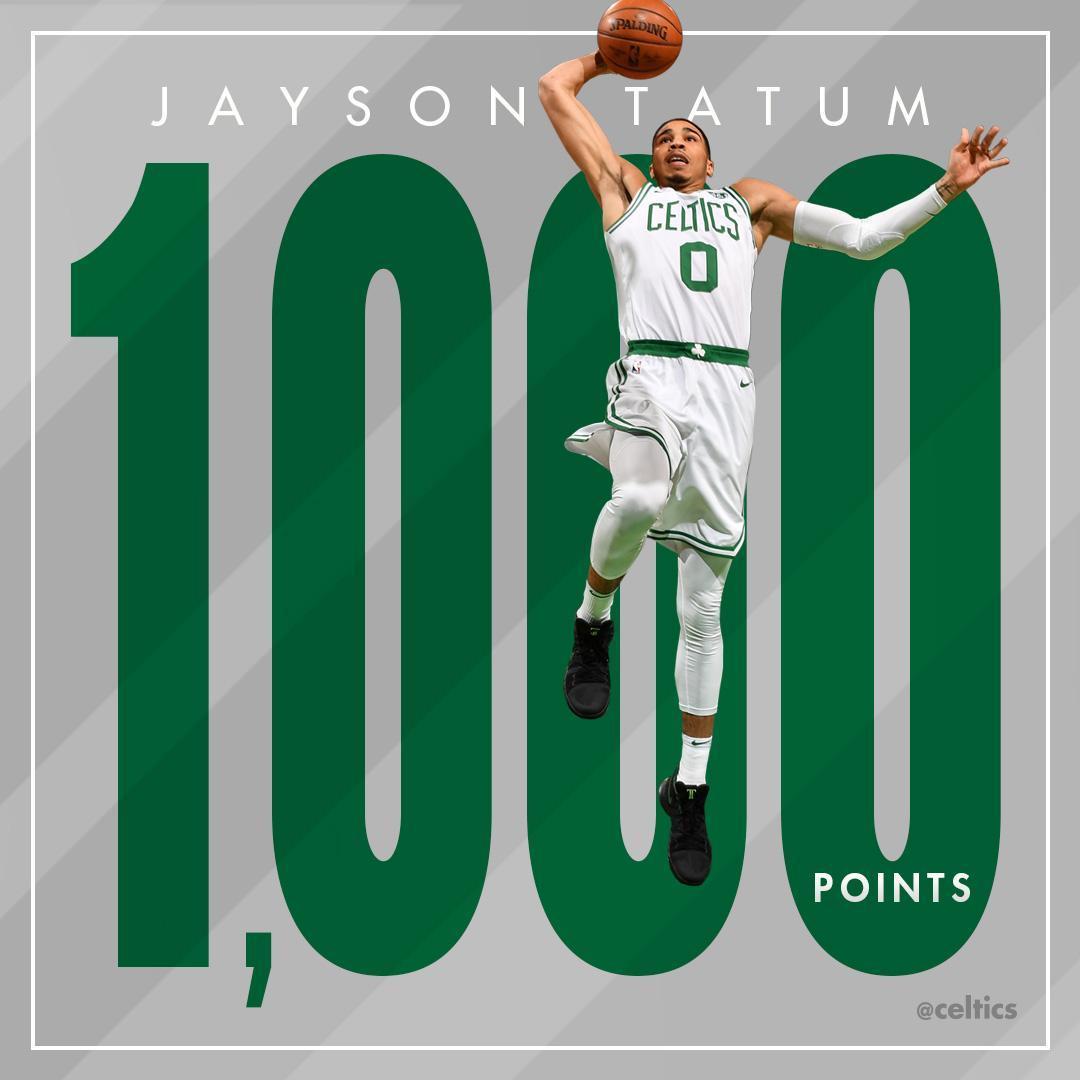 塔特姆新秀赛季得到1000分,队史第9位