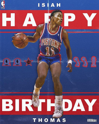 NBA官方祝伊赛亚-托马斯57岁生日快乐