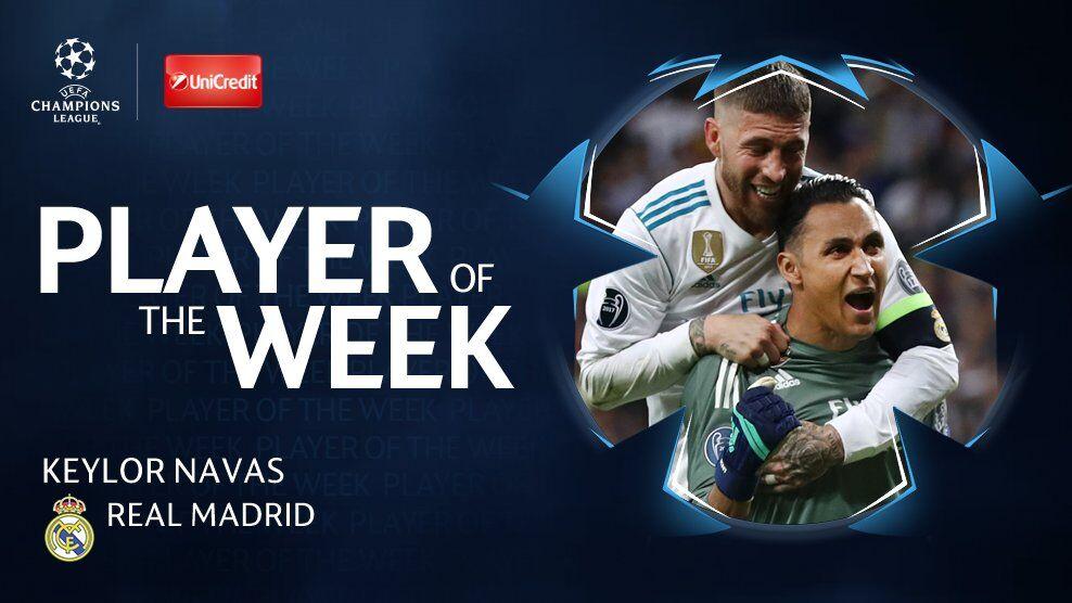 官方:纳瓦斯当选本周欧足联最佳球员