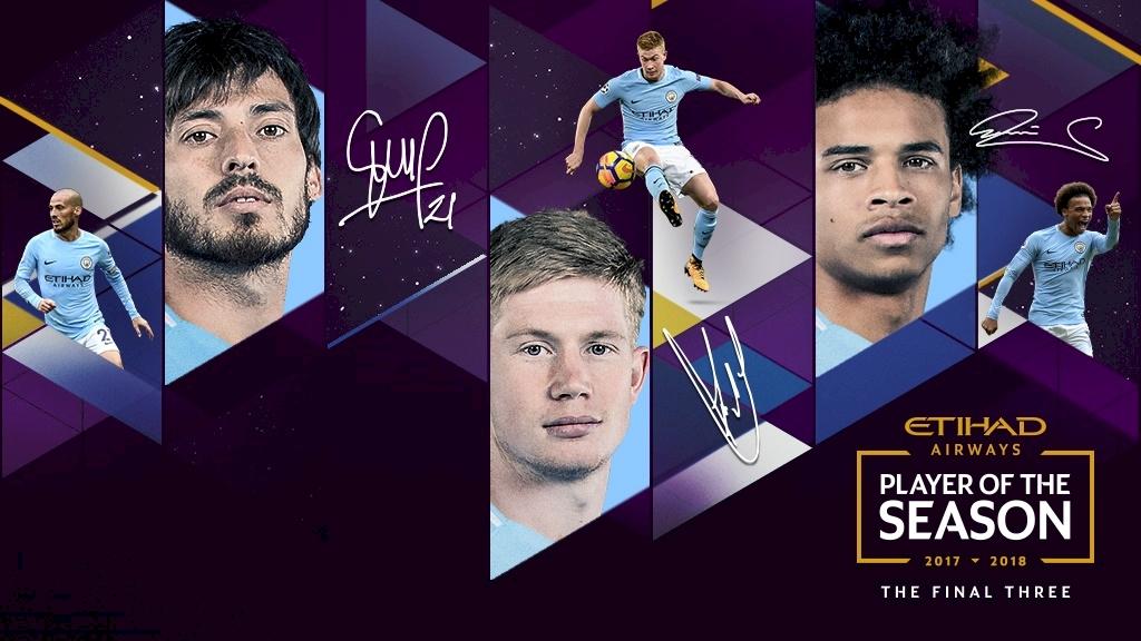 曼城队内赛季最佳球员候选:德布劳内,大卫-席尔瓦,萨内