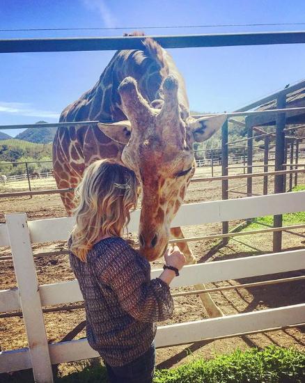 珍妮-巴斯晒出自己与长颈鹿的合照:想念他