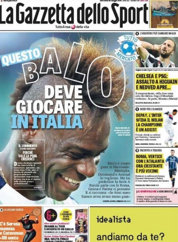 米体:巴洛特利倾向于重回意甲联赛踢球,阿森纳有意引进