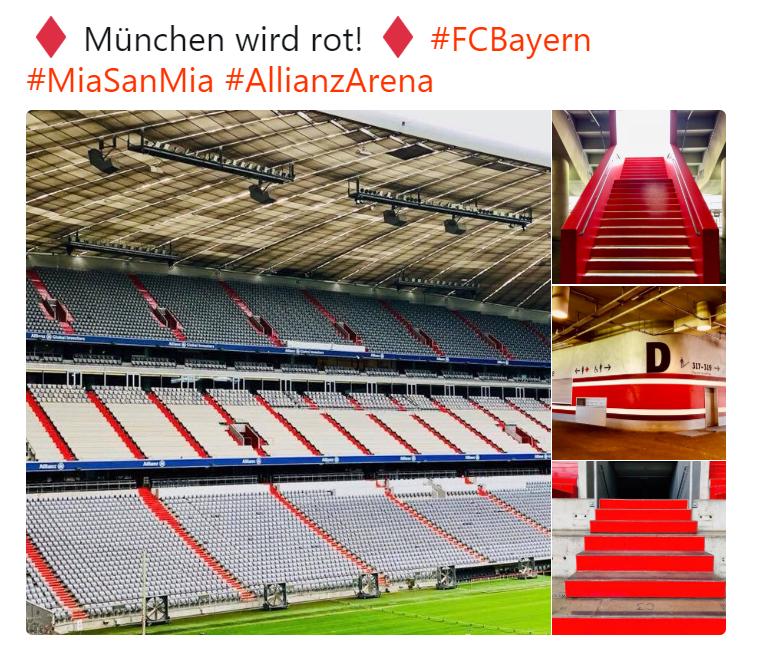 拜仁慕尼黑翻新安联球场,楼梯被漆成红色