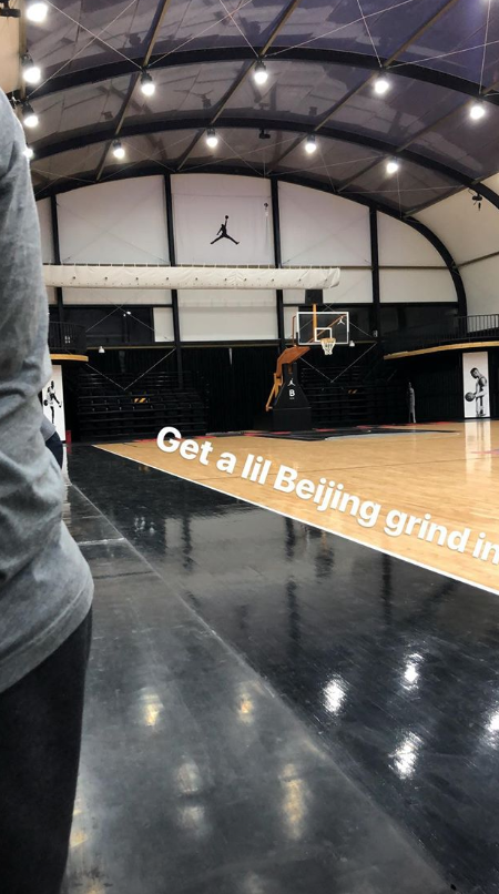 库兹马晒出自己在北京训练的照片