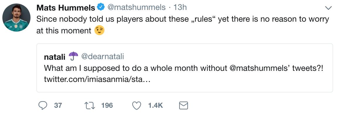 """胡梅尔斯:还没人告诉我们禁用社交媒体的""""规定"""",别担心"""