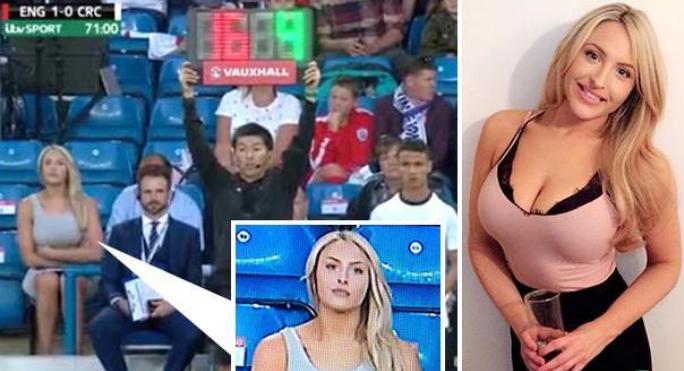 她比拉什福德的进球更精彩,英格兰友谊赛场边性感女郎爆红
