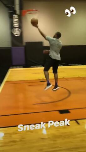 恢复顺利!卡南发布自己运球上篮训练的短视频