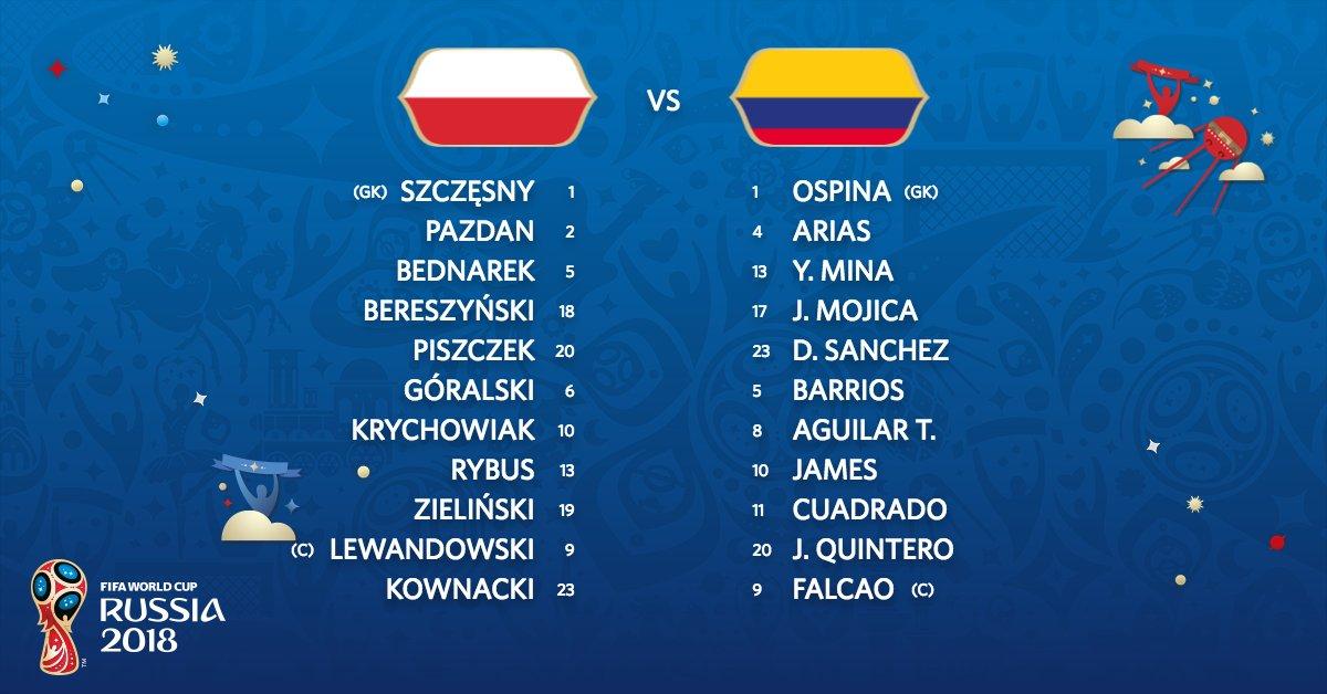 波兰vs哥伦比亚首发:莱万对决J罗