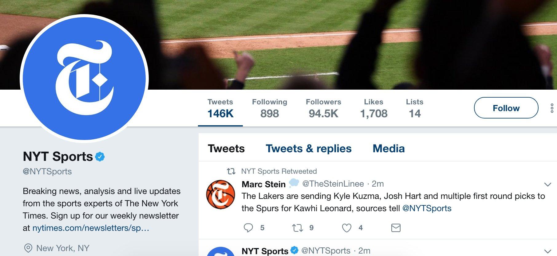 纽约时报体育官推上当,转发伦纳德去湖人的假消息