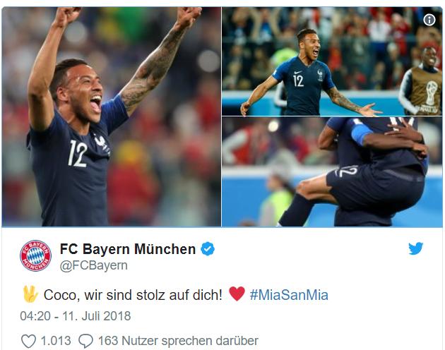 法国进入决赛,拜仁祝福托利索:我们以你为骄傲