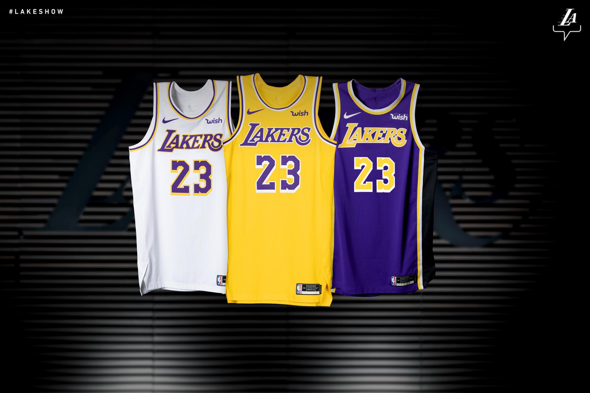 湖人公布新赛季三款全新配色的球衣