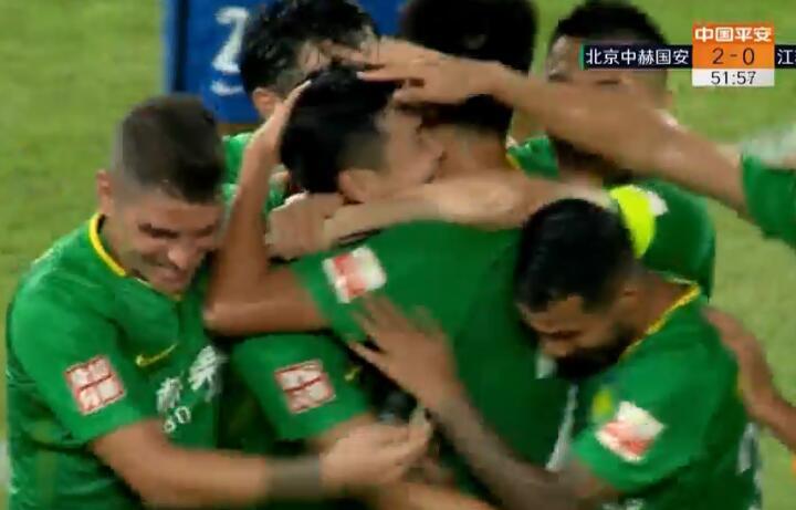GIF:比埃拉传中,雷腾龙进球,国安2-0苏宁