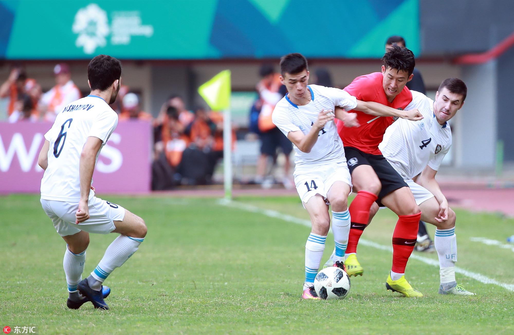 乌兹别克斯坦反超韩国GIF三分钟内连入两球