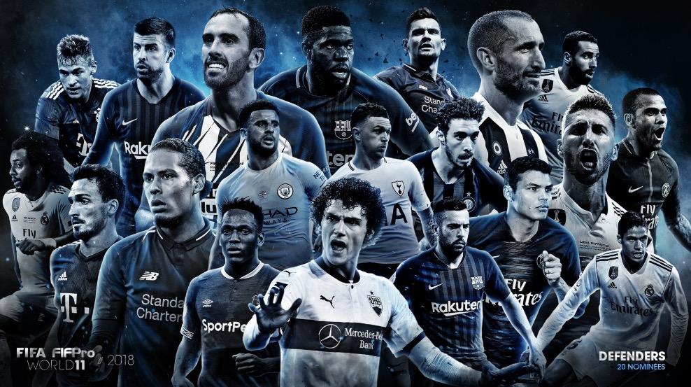FIFA年度最佳阵容后卫候选 20人:拉莫斯、瓦拉内领衔