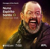 官方:狼队主帅努诺-桑托当选英超九月最佳教练