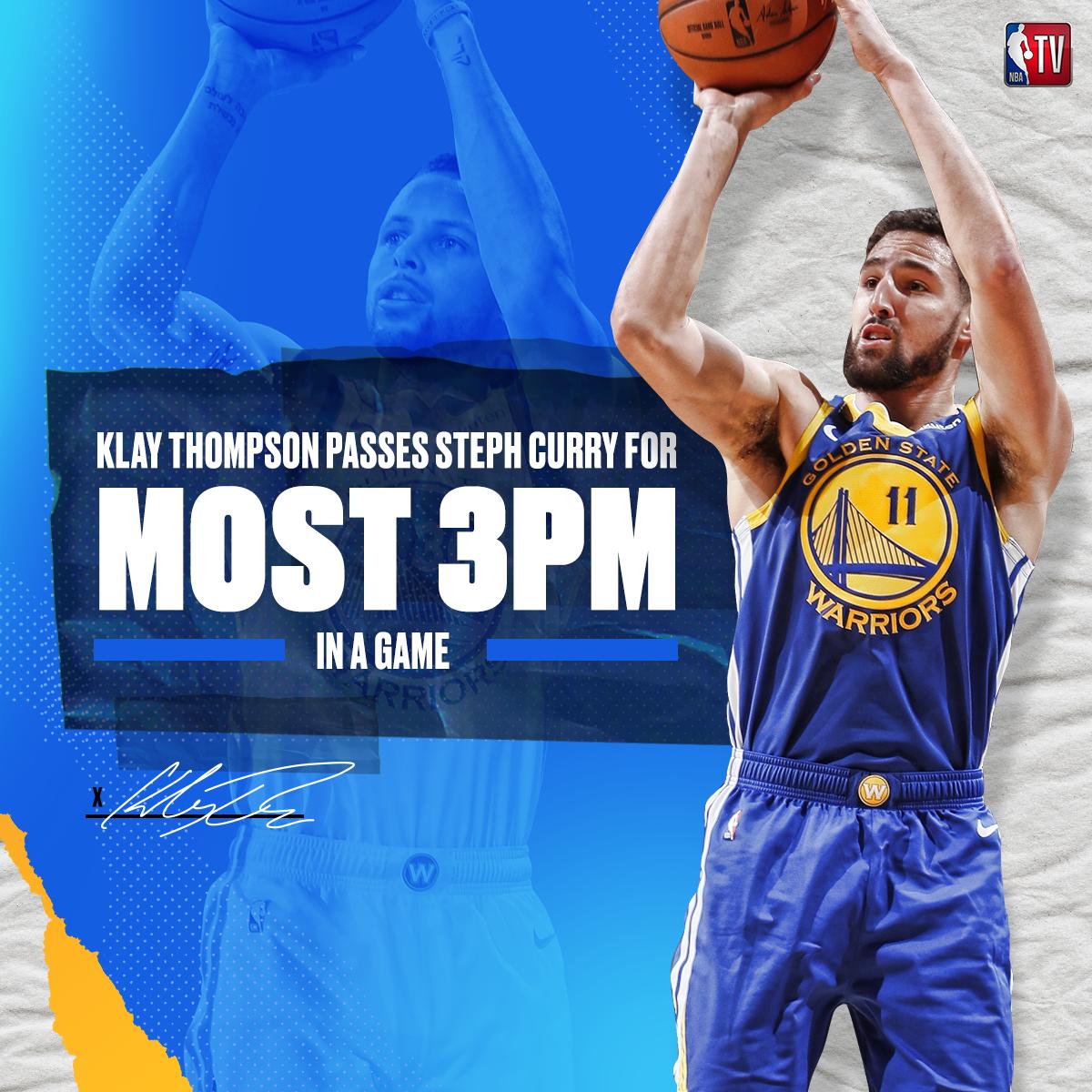 克莱-汤普森命中14记三分球打破NBA历史纪录
