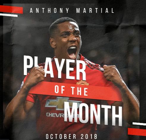 官方:马夏尔当选曼联十月最佳球员