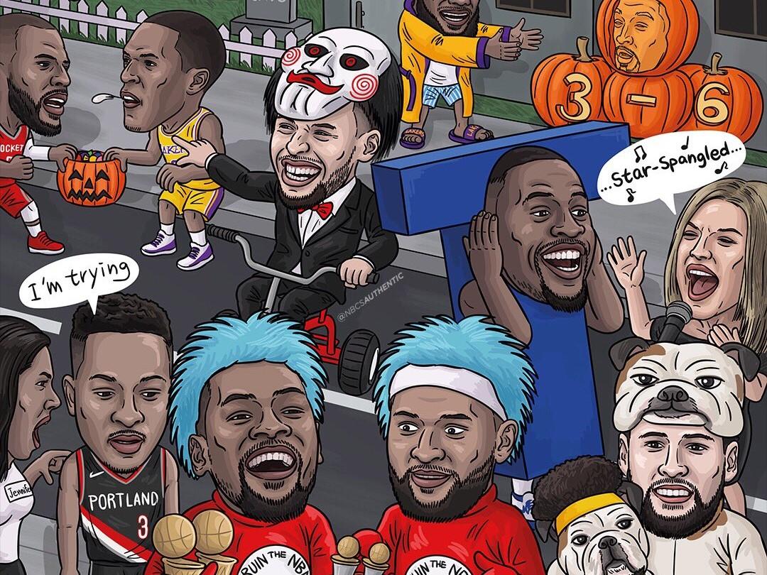 美媒制造万圣节搞怪辽宁体育彩票漫画:格林背T,克莱带着Rocco