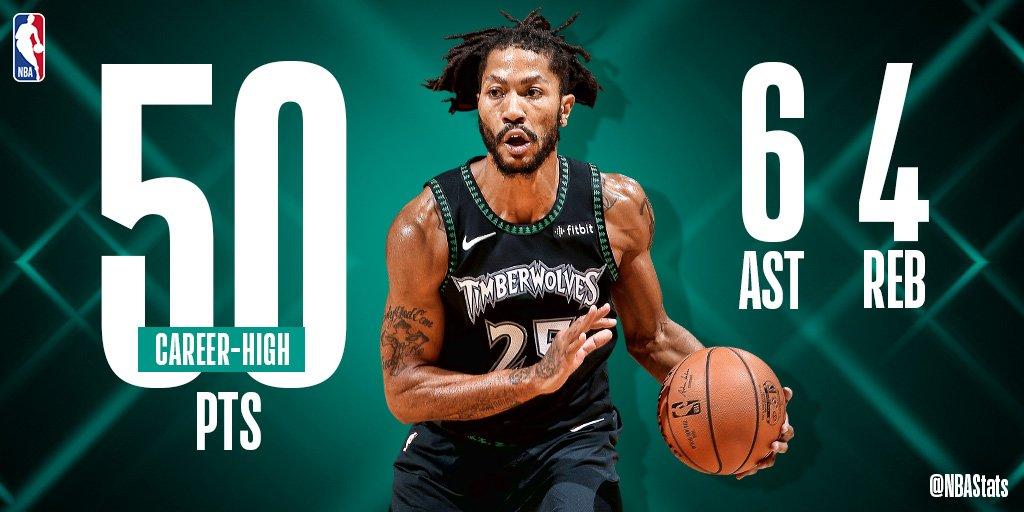 NBA官方评选今日最佳数据:罗斯生涯新高50分当选