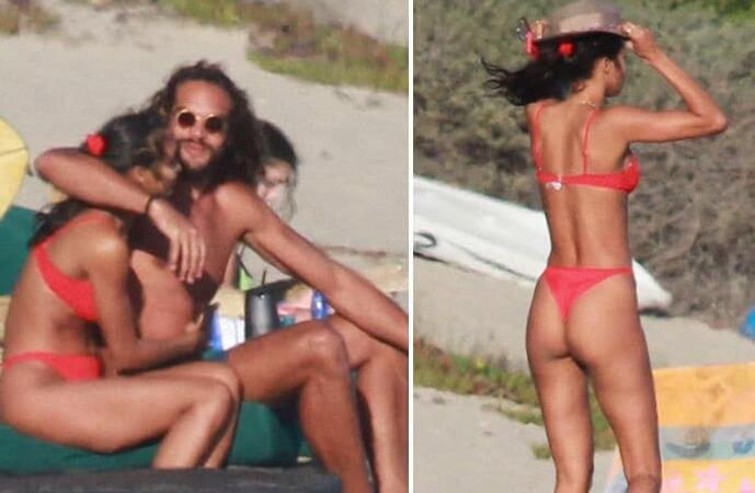 诺阿与超模女友Lais现身加州马利布的海滩