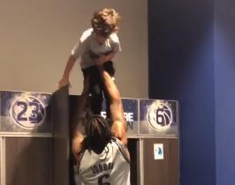 欺负小孩子!小乔丹将巴里亚儿子放在衣柜顶玩耍