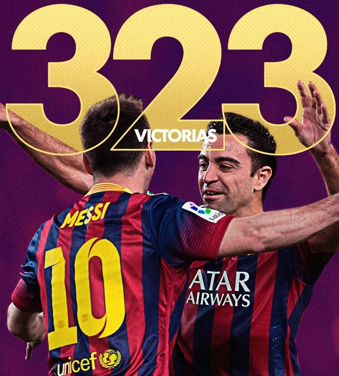 323胜!梅西超越哈维成西甲胜场最多的巴萨球员