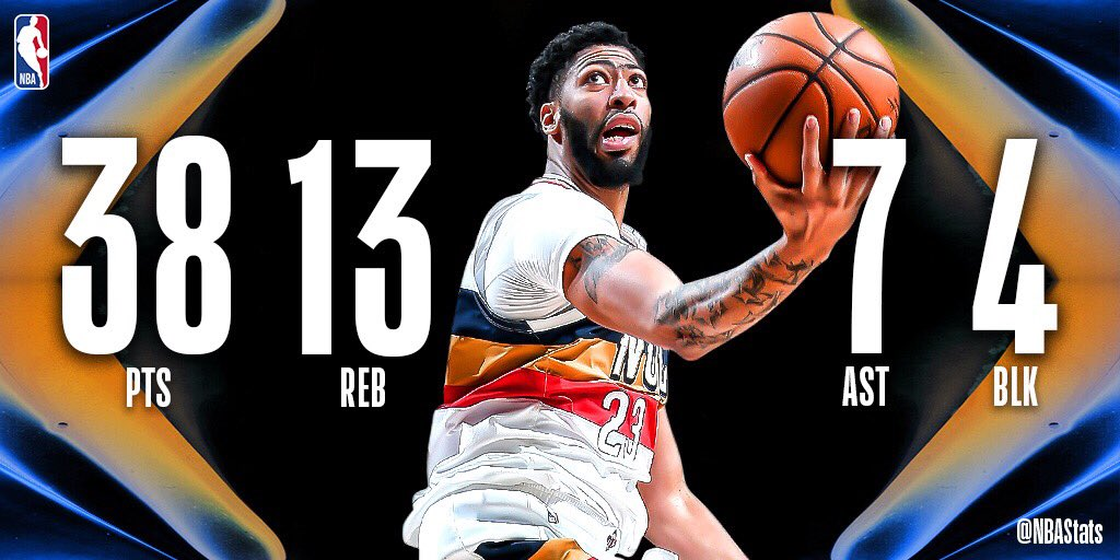 NBA官方评选今日最佳数据:戴维斯38+13+7成功当选