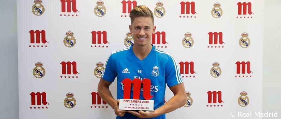 官方:马科斯-略伦特被球迷选为12月皇马最佳球员