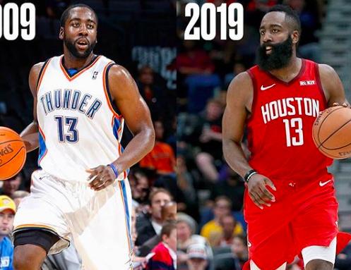 NBA官方对比哈登库里等09届新秀十年变化