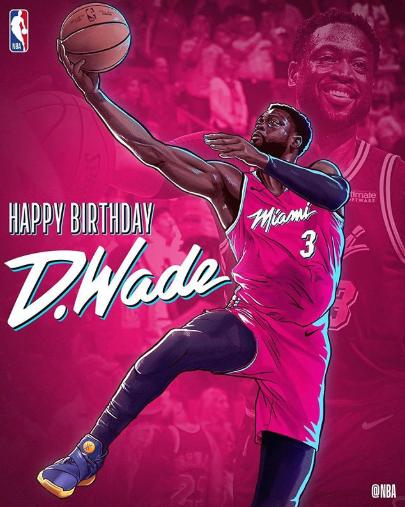 NBA官方祝热火后卫德维恩-韦德37岁生日快乐