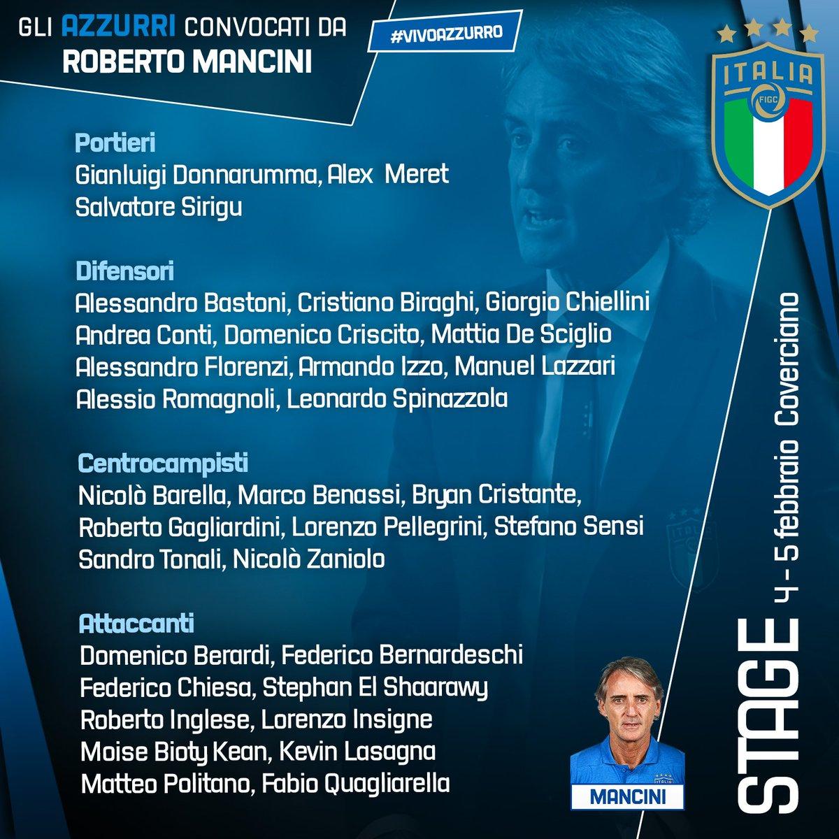 意大利公布本月集训大名单:夸利亚雷拉入选