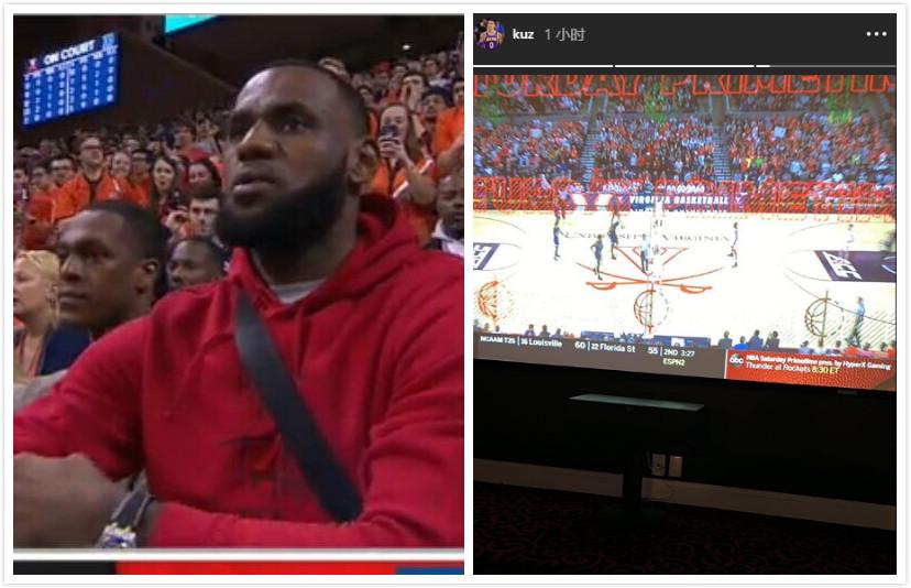 差距!詹姆斯和隆众现场不雅旁观杜克对阵弗吉尼亚,库兹马望电视