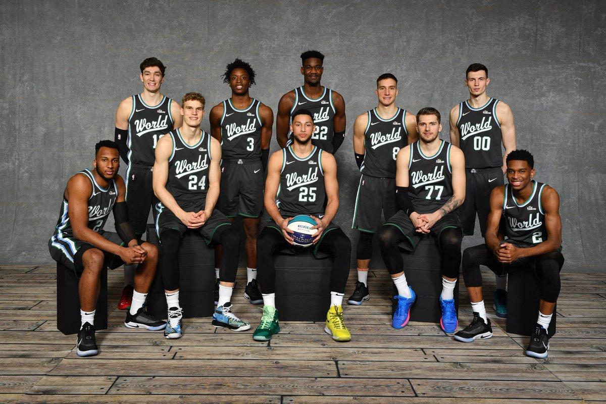 2019年NBA全明星新秀赛世界队和美国队定妆照出炉