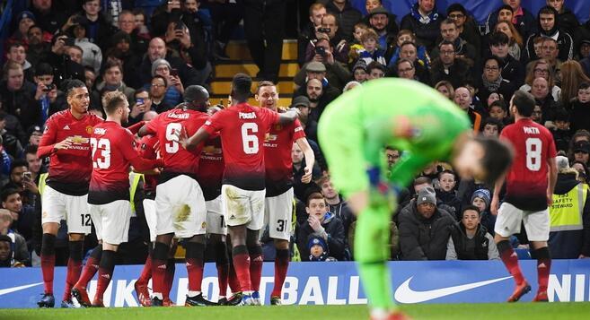 足总杯:博格巴传射埃雷拉头槌,曼联客场2-0切尔西晋级