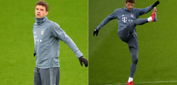 一图流:穆勒跟随拜仁慕尼黑参加赛前训练