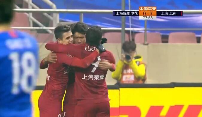 GIF:吕文君中柱奥斯卡补射破门,申花0-3上港