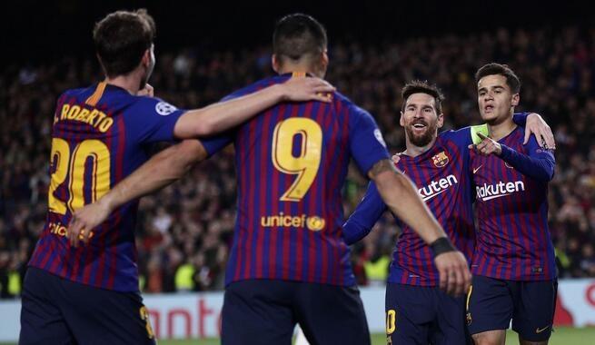 欧冠:梅西2射2传库鸟皮克破门,巴萨5-1里昂晋级