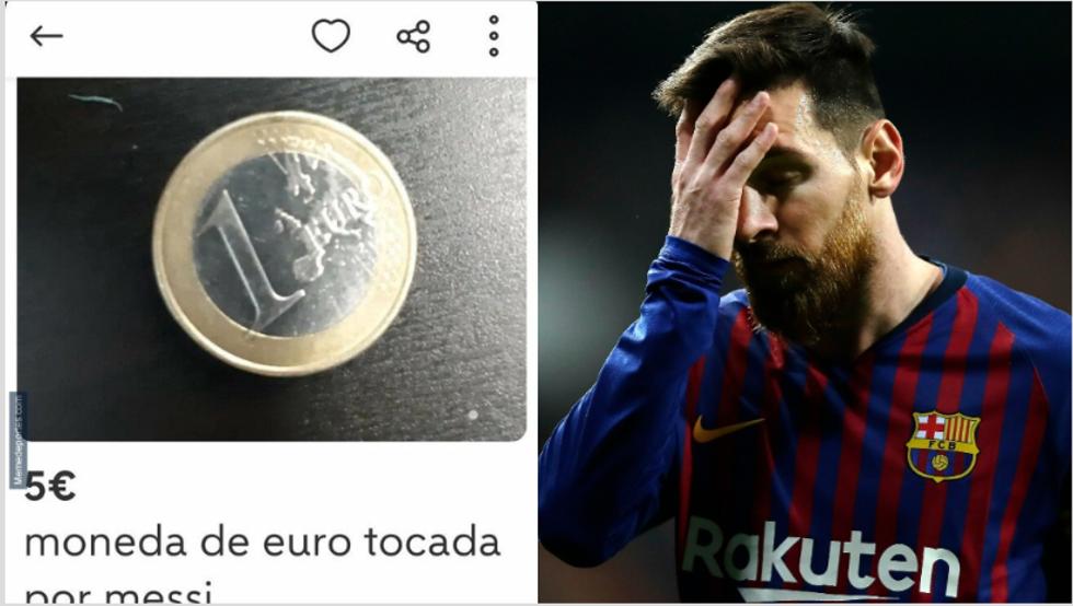 升值五倍?一网友标价5欧出售梅西摸过的1欧硬币
