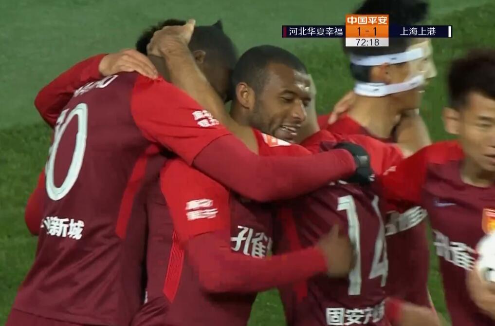 GIF:尹鸿博传球卡埃比前插射门,华夏幸福1-1上港