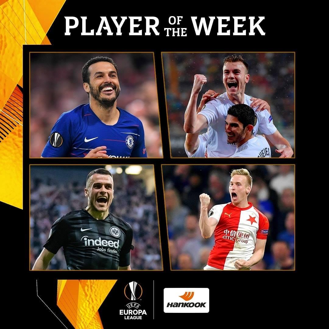 欧联杯本周最佳球员提名:佩德罗、科斯蒂奇入选