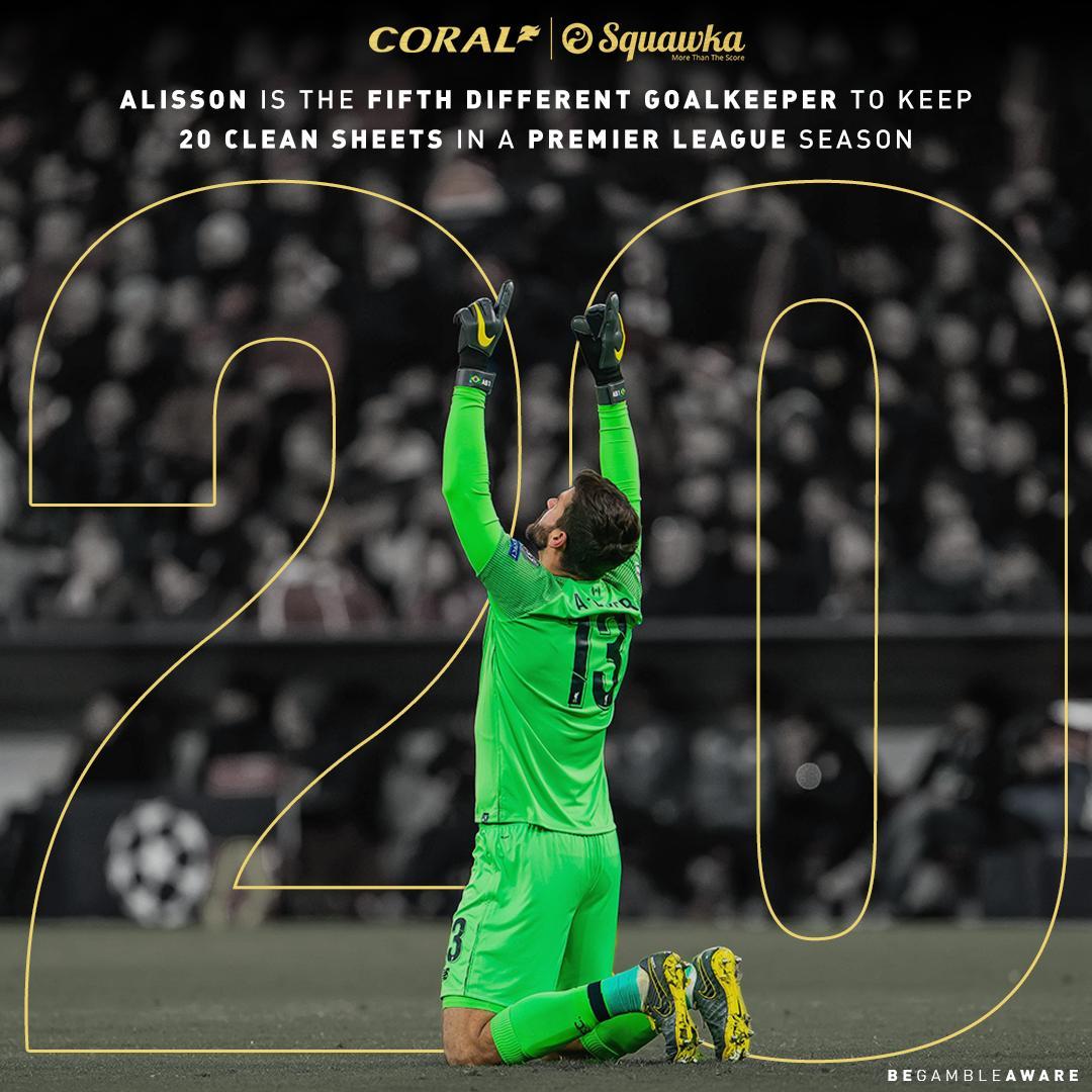 整整20场零封!阿利松平利物浦队史最高纪录