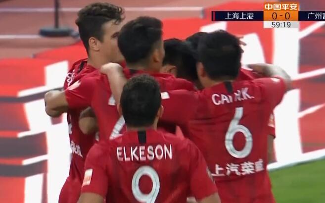 GIF:弋腾解围中柱送礼李圣龙!上港1-0富力