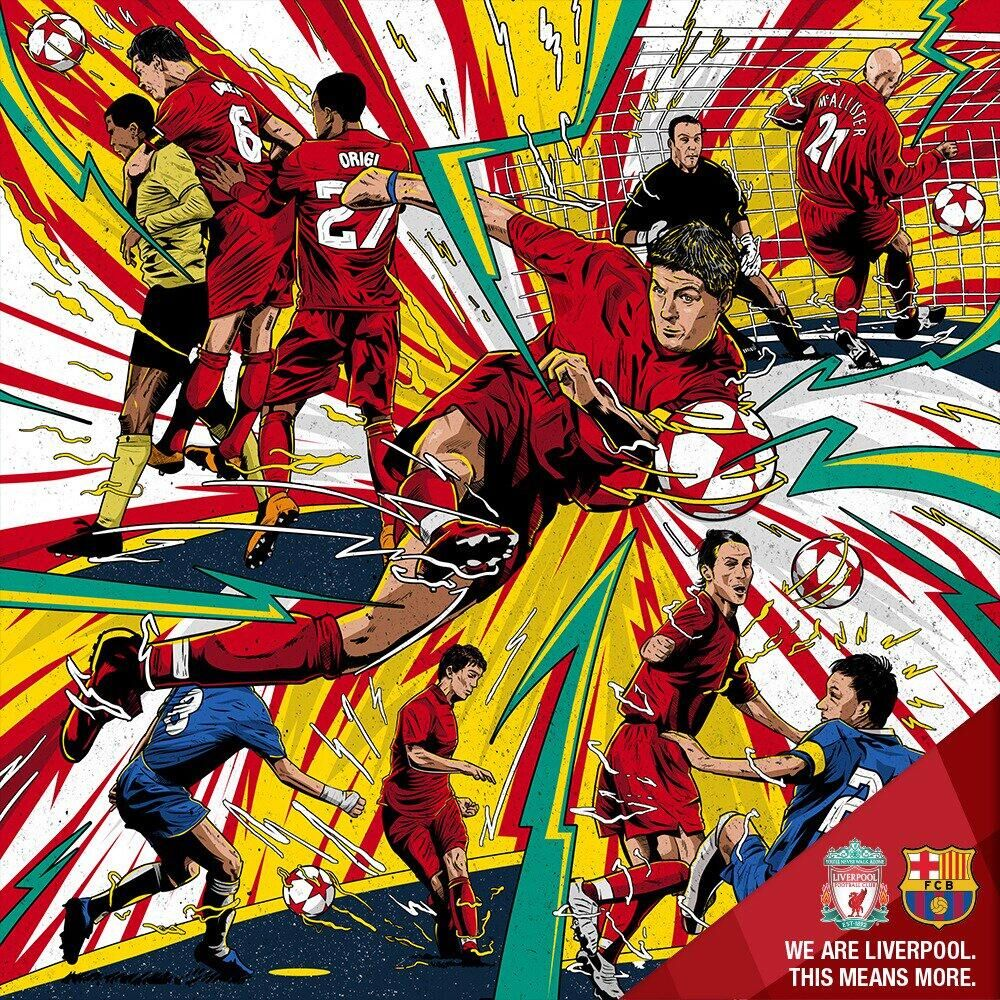 利物浦官方赛前海报:今夜大敌现在,红军永不退守