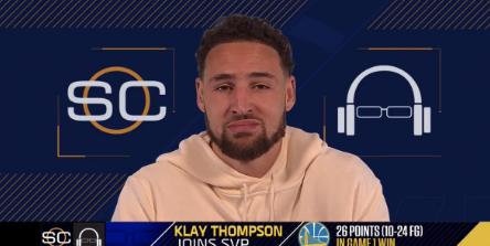 美媒发图调侃克莱:扣篮让克莱-汤普森感到很开心