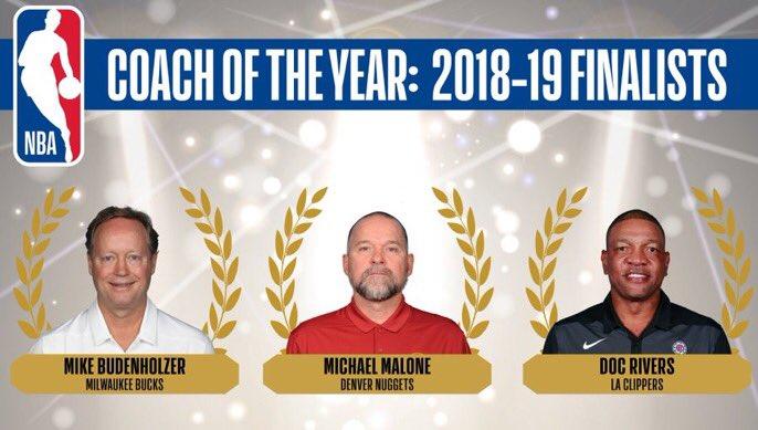 布登霍尔泽、马龙、里弗斯入选最佳教练最终候选名单