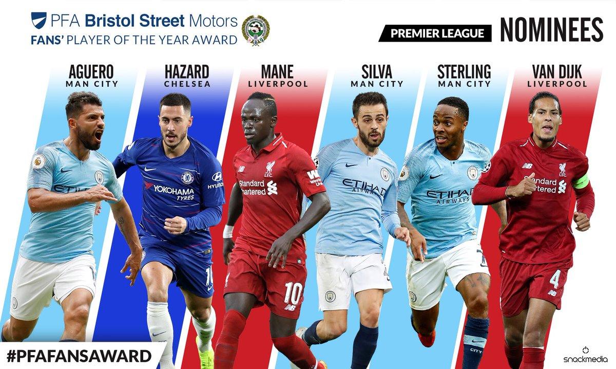 PFA年度球迷评最佳球员候选:曼城3人利物浦2人阿扎尔