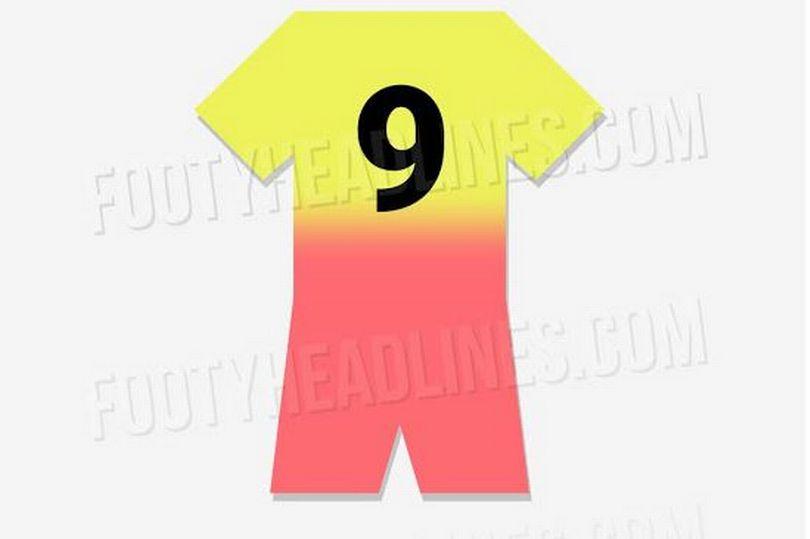 曼城第三客场球衣设计照:黄色粉色渐变搭配