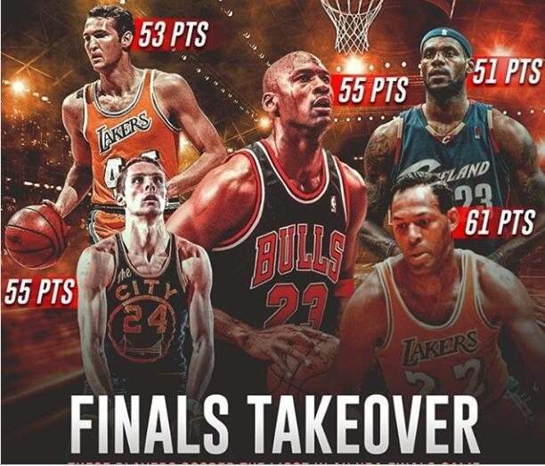 美媒昔日晒出NBA总决赛单场得分汗青前五位球员图