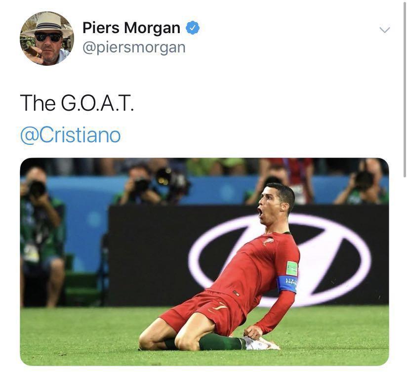 CNN主办人。皮尔斯-摩根:C罗是史上最佳球员