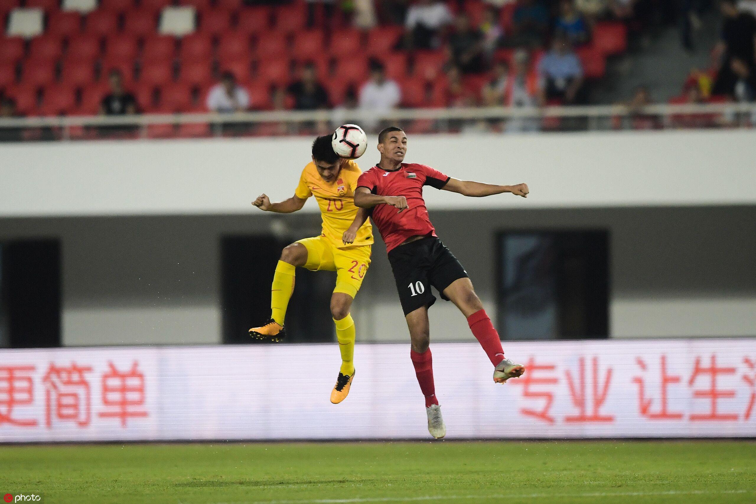 U20半场:郭田雨两球,中国2-1巴勒斯坦